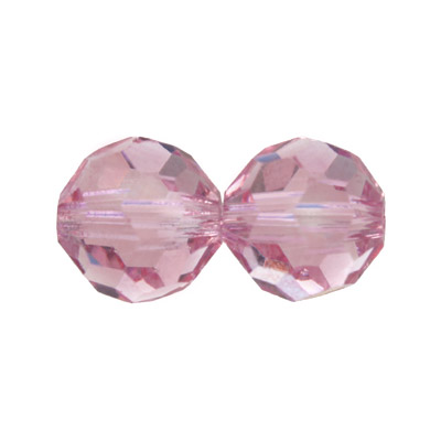 Czech machine cut glass beads, 10mm, faceted round, light rose