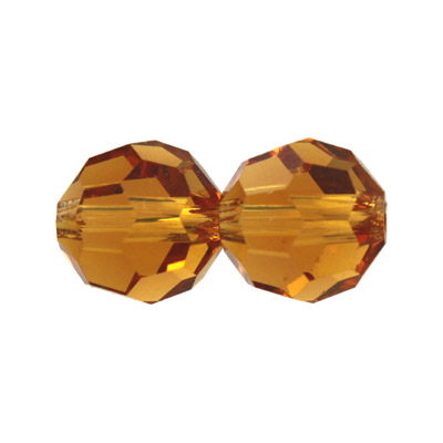 Czech machine cut glass beads, 10mm, faceted round, topaz
