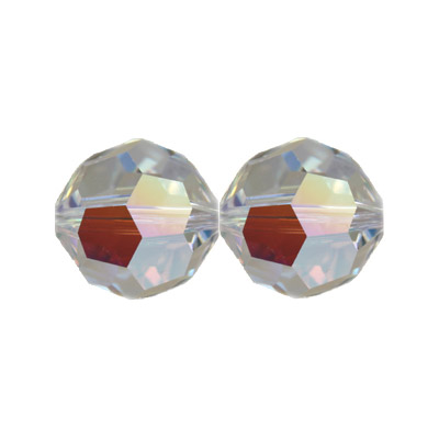 Czech machine cut glass beads, 10mm, faceted round, AB crystal