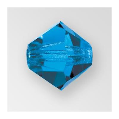 Preciosa machine cut glass beads, 12x12mm, bicone, capri blue