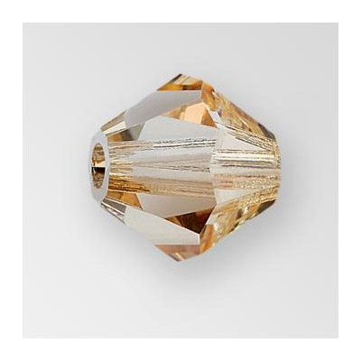 Preciosa machine cut glass beads, 3x3mm, bicone, crystal honey