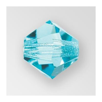 Preciosa machine cut glass beads, 4x4mm bicone, aqua bohemica