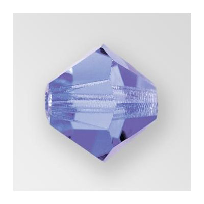 Preciosa machine cut glass beads, 4x4mm, bicone, tanzanite