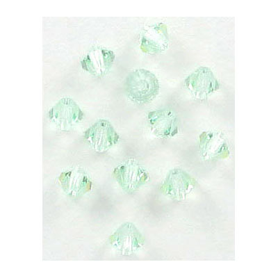 Preciosa machine cut glass beads, 4x4mm, bicone, chrysolite, approx. hole size 0.95mm