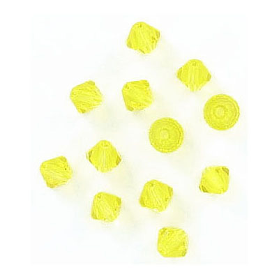 Preciosa machine cut glass beads, 4x4mm, bicone, citrine