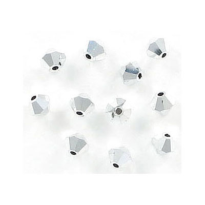 Preciosa machine cut glass beads, 4x4mm, crystal labrador, fullcoat, approx. hole size 0.95mm
