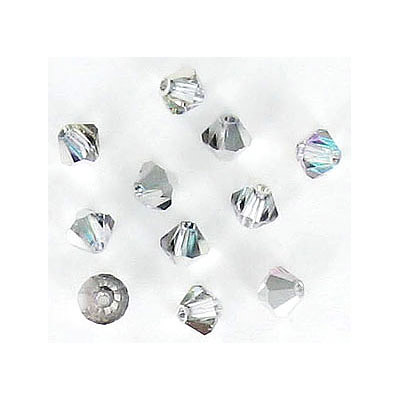 Machine cut glass beads, 4x4mm, bicone vitrail light