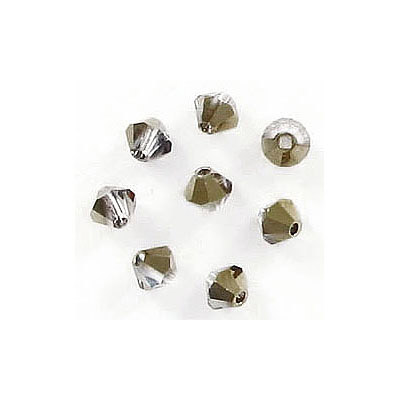 Preciosa machine cut glass beads, 4x4mm, bicone, starlight gold