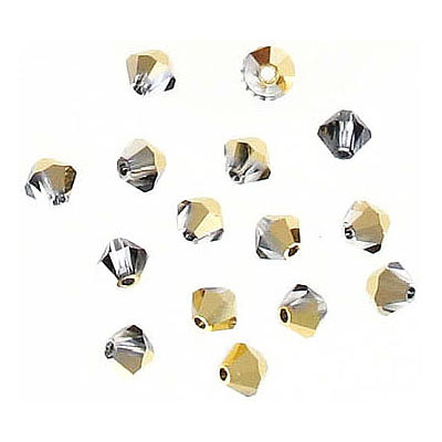 Preciosa machine cut glass beads, 4x4mm, bicone, aurum, half-coat, approx. hole size 0.95mm