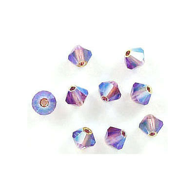Preciosa machine cut glass beads, 4x4mm, bicone, ab amethyst 2x