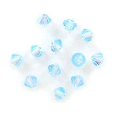 Preciosa machine cut glass beads, 4x4mm, bicone, approx. hole size 0.95mm, aqua AB 2X