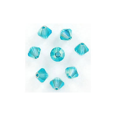 Preciosa machine cut glass beads, 4x4mm, bicone, ab blue zircon 2x