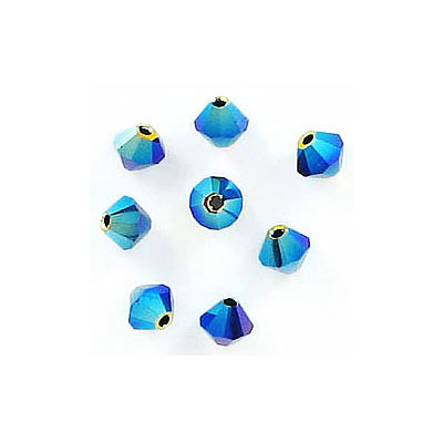 Preciosa machine cut glass beads, 4x4mm, bicone, ab jet 2x