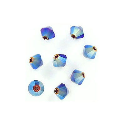 Preciosa machine cut glass beads, 4x4mm, bicone, ab siam 2x