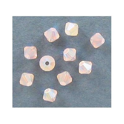 Preciosa machine cut glass beads, 4x4mm, bicone, rose opal AB 2x