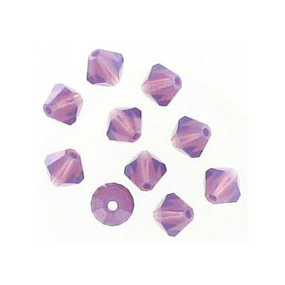 Preciosa machine cut glass beads, 5x5mm, bicone, amethyst opal
