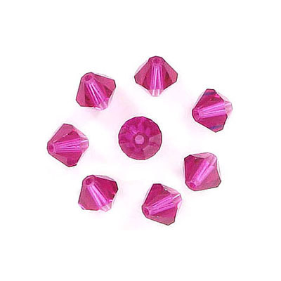 Preciosa machine cut glass beads, 5x5mm, bicone, fuchsia