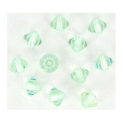 Preciosa machine cut glass beads, 5x5mm, bicone, chrysolite, approx. hole sixe 0.95mm