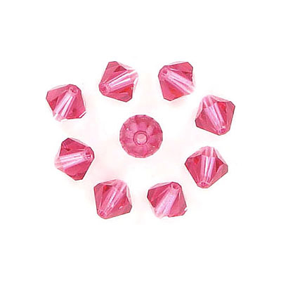 Preciosa machine cut glass beads, 5x5mm, bicone, indian pink