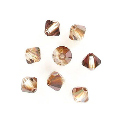 Preciosa machine cut glass beads, 5x5mm, bicone, crystal venus