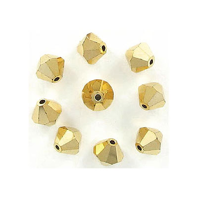 Preciosa machine cut glass beads, 5x5mm, bicone, aurum