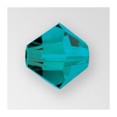 Preciosa machine cut glass beads, 6x6mm, blue zircon
