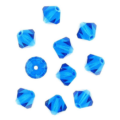 Preciosa machine cut glass beads, 6x6mm, bicone, capri blue