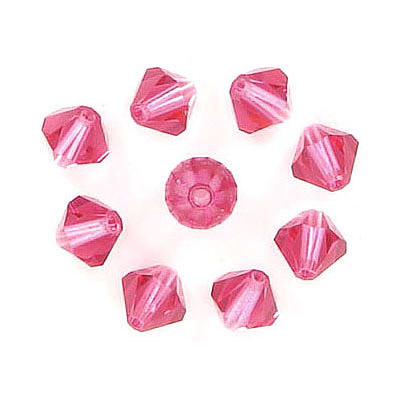Preciosa machine cut glass beads, 6x6mm, bicone, indian pink