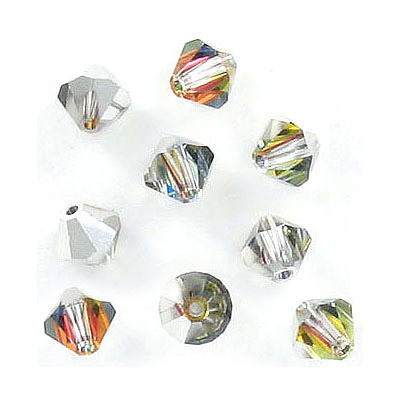 Preciosa machine cut glass beads, 6x6mm, bicone, volcano, approx. hole size 1.05mm