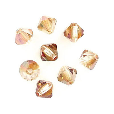 Preciosa machine cut glass beads, 6x6mm, bicone, crystal venus