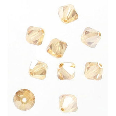 Preciosa machine cut glass beads, 6x6mm, bicone, golden flare
