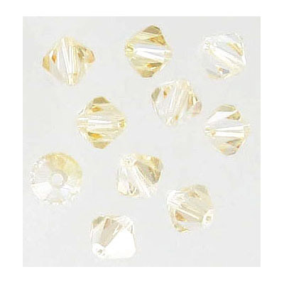 Preciosa machine cut glass beads, 6x6mm, bicone, crystal blond flare