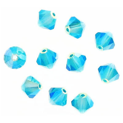 Preciosa machine cut glass beads, 6x6mm, bicone,  ab blue zircon 2x
