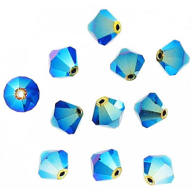 Preciosa machine cut glass beads, 6x6mm, bicone, ab jet 2x
