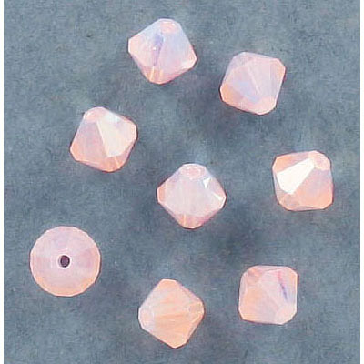 Preciosa machine cut glass beads, 6x6mm, bicone, rose opal AB 2x