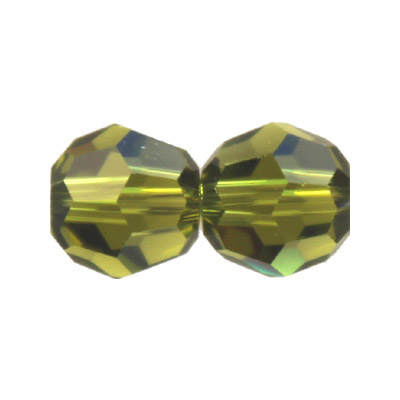 Czech machine cut glass beads, 8mm, faceted round, olivine
