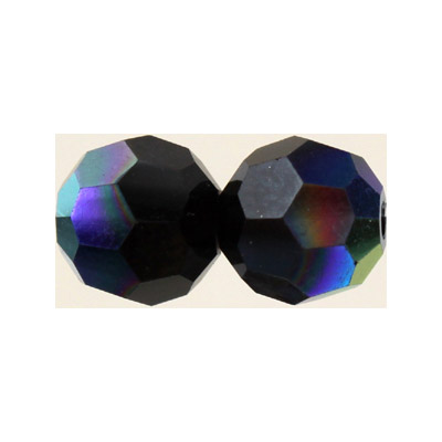Czech machine cut glass beads, 8mm, faceted round, AB jet