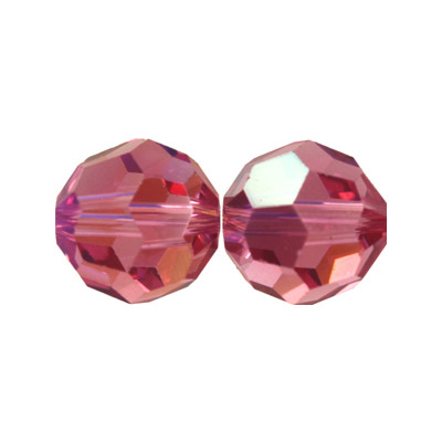 Czech machine cut glass beads, 8mm, faceted round, AB light rose