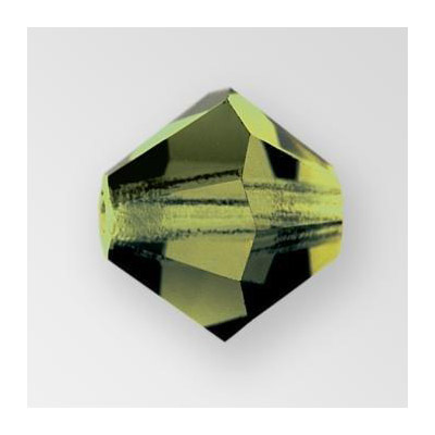 Preciosa machine cut glass beads, 8x8mm, bicone, olivine