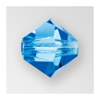 Preciosa machine cut glass beads, 8x8mm, bicone, sapphire