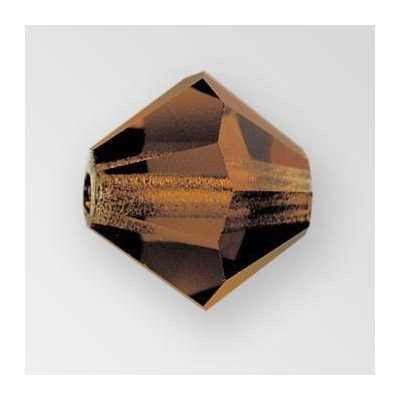 Preciosa machine cut glass beads, 8x8mm, bicone, smoked topaz