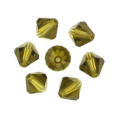 Czech machine cut glass beads, 8x8mm, bicone, gold beryl