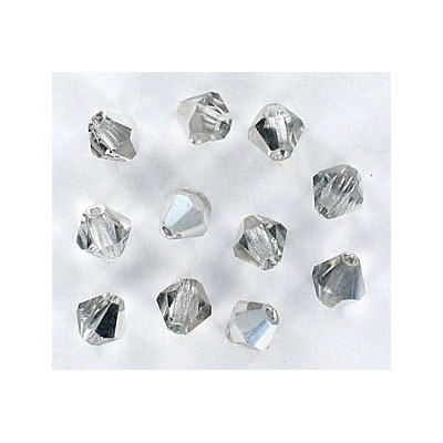 Preciosa machine cut glass beads, 8x8mm, bicone, crystal cal (labrador half coated)