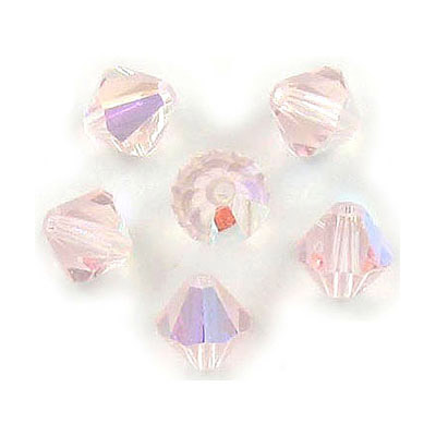 Czech machine cut glass beads, 8x8mm, bicone, AB light rose