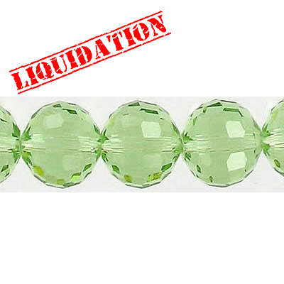 Machine cut glass beads, 10mm, 96 facets, 17 pieces, 7 inch strand, peridot