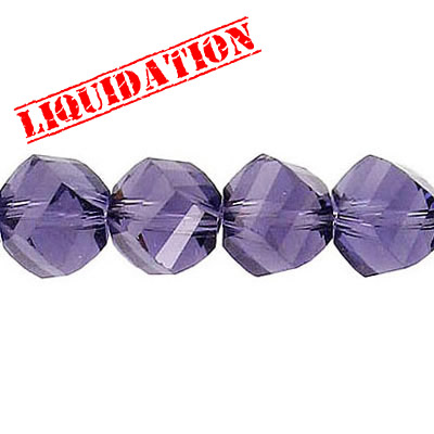 Machine cut glass beads, faceted, twist (helix), 7 inch strand, 19 pieces, 10mm, amethyst