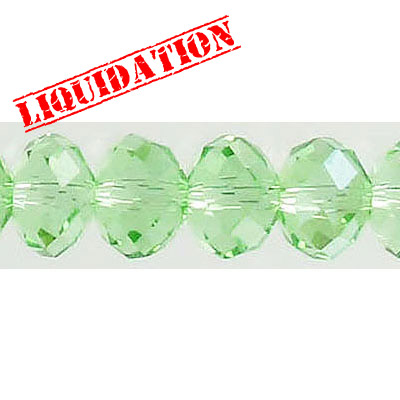 Machine cut glass beads, 10x7mm, faceted rondelle briolette, 7 inch strand, peridot