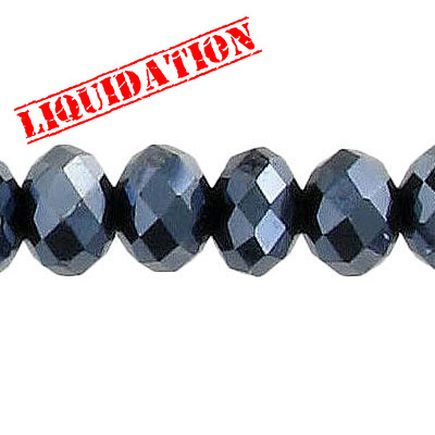 Machine cut glass beads, 10x7mm, faceted rondelle briolette, 7 inch strand, hematite