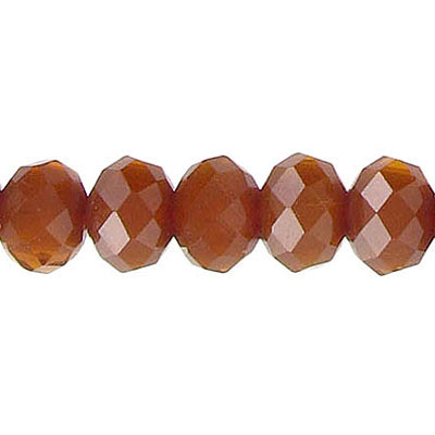 Machine cut glass beads, faceted, rondelle, opaque brown, 10mm, 8 inch strand