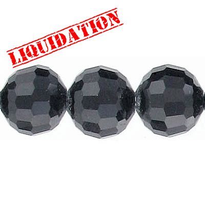 Machine cut glass beads, 12mm, 96 facets, jet-black color, 7 inch strand, appx. 17 pieces